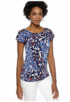 Anne Klein Abstract Animal Print Flutter Sleeve Top