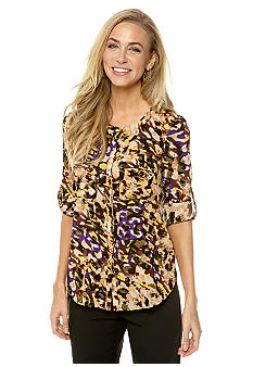 Anne Klein Cameo Print Button Down Shirt with Flap Pockets