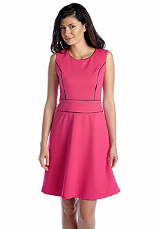 Anne Klein Ponte Fit And Flare Dress With Faux Leather Trim