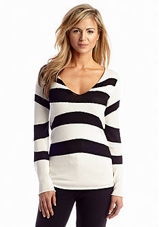 Anne Klein V-Neck Stripe Pullover