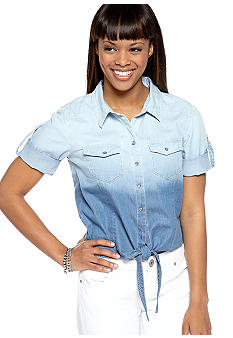 Love Always Short Sleeve Ombre Denim Shirt with Tie Front