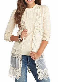 It's Our Time Crochet Trim Vest