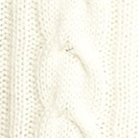 Juniors Pullover: Cream Love Always High Neck Cable Knit Sweater
