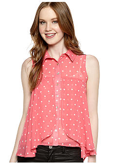 Love Always Sleeveless Dot Button Front