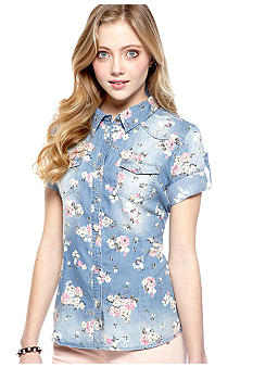 Love Always Floral Printed Denim Shirt