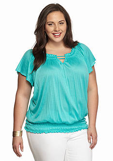 Kim Rogers Plus Size Solid Flutter Sleeve Top