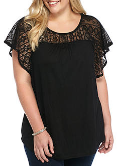 Kim Rogers Plus Size Lace Yoke Knit Top