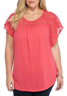 Kim Rogers Plus Size Lace Yoke Knit Top