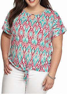 Kim Rogers Plus Size Printed Tie Front Top