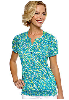 Kim Rogers Short Sleeve Crinkle Print Split Neck Top