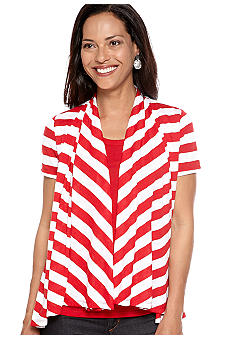 Kim Rogers Stripe Layered Cardigan With Solid Tank
