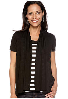 Kim Rogers Solid Knit Top with a Stripe Tank