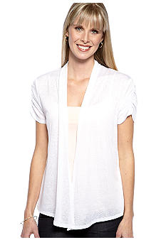 Kim Rogers Short Sleeve Knit Burnout Cardigan