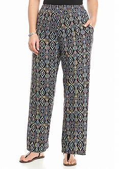 Kim Rogers Plus Size Geo Diamond Printed Soft Pants