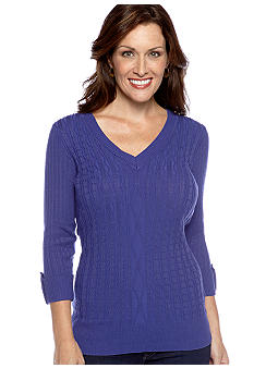 Kim Rogers® V-Neck Cable Sweater