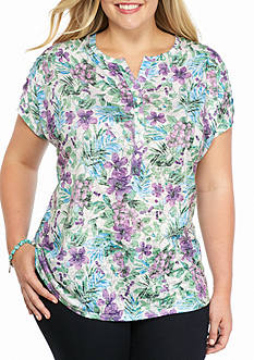 Kim Rogers Plus Printed Burnout Tee