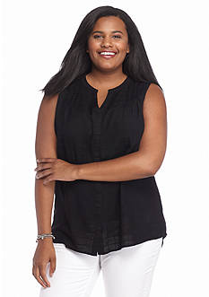 Kim Rogers Plus Size Sleeveless Solid Blouse