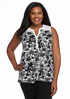 Kim Rogers Plus Size Sleeveless Floral Print Blouse