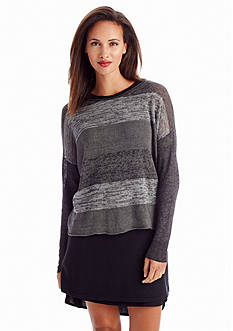 Eileen Fisher Scoop Neckline Stripe Boxy Top
