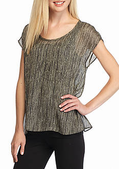 Eileen Fisher Sheer Cap Sleeve Top