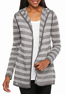 Eileen Fisher Hooded Stripe Cardigan