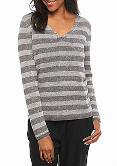 Eileen Fisher V Neck Stripe Sweater