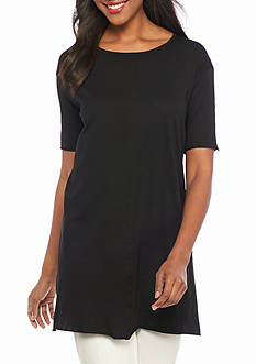 Eileen Fisher Solid Round Neck Tunic Top