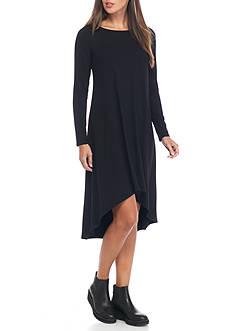 Eileen Fisher Ballet Neck Solid Knit Dress