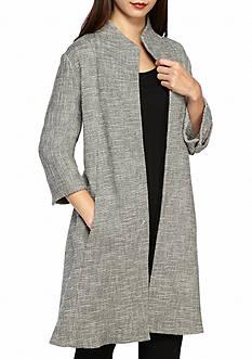 Eileen Fisher High Collar Textured Long Jacket