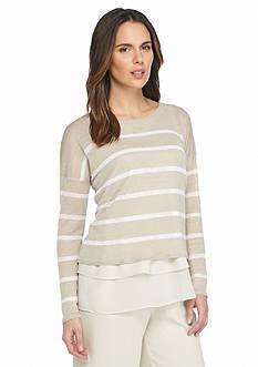 Eileen Fisher Wide Stripe Light Knit Boxy Top