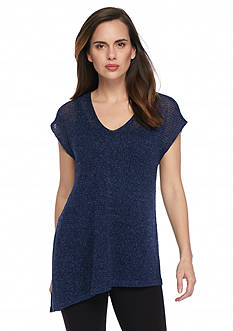 Eileen Fisher V Neck Cap Sleeve Tunic Top