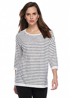 Eileen Fisher Bateau Neck Stripe Pullover Sweater