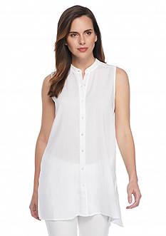 Eileen Fisher Mandarin Collar Tunic Top