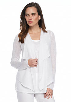 Eileen Fisher Drape Front Open Stitch Cardigan