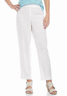 Eileen Fisher Solid Ankle Length Linen Pants