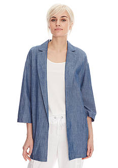 Eileen Fisher Notch Collar Soft Chambray Jacket