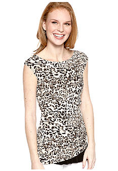 New Directions Animal Print Asymmetrical Hem Top
