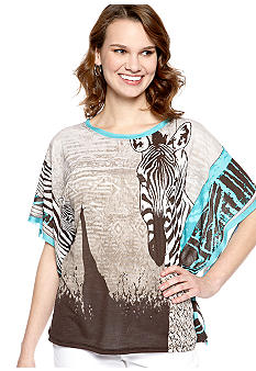 New Directions Zebra Placed Knit Top