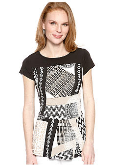 New Directions Patchwork Peplum Top