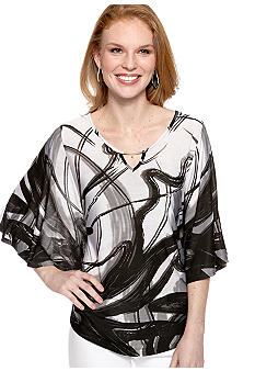 New Directions Squiggle Print Knit Top