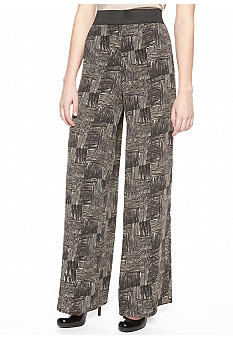 New Directions Wood Block Print Palazzo Pant
