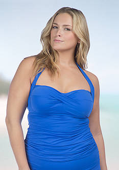 Lauren Ralph Lauren Plus Size Beach Solids Shirred Halterkini