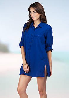Lauren Ralph Lauren Crushed Cotton Cover Up Camp Shirt