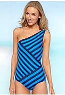 DKNY Chic Stripes One Shoulder One Piece