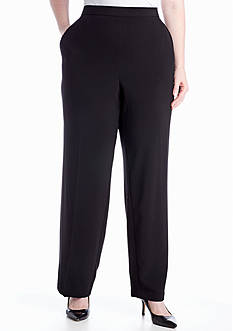 Kim Rogers Plus Size Pull-On Flat Front Pant (Average and Short)