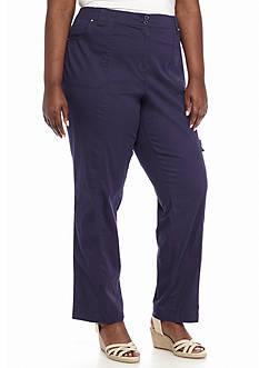 Kim Rogers Plus Size Knit Waist Cargo Short Pants