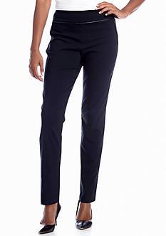 Kim Rogers® Millennium Slim Pant with Faux Leather Trim