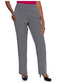 Kim Rogers Petite Plaid Pull-On Pant