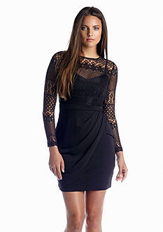French Connection Lace Drape Long Sleeve Dress