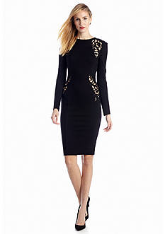 French Connection Long Sleeve Marie Stretch Embriodery Dress